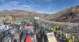 Imagen de una de las  tractoradas realizadas en febrero de 2020 por agricultores andaluces.