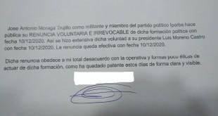 Carta de renuncia de Antonio Moraga a su militancia en Iporba.