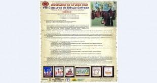 Cartel con las bases de la convocatoria del VIII Concurso de Dibujo Cofrade 'Mª de los Ángeles Carreras Gálvez'.