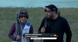 Fátima Gálvez y Alberto Fernández, tras la disputa por la medalla de bronce en la Copa del Mundo de El Cairo.
