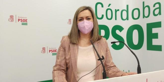 La senadora del PSOE por Córdoba, Mª Jesús Serrano, ayer en rueda de prensa. Foto: PSOE-Córdoba