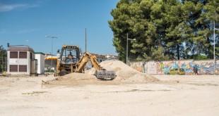 Primeros trabajos en las obras de construcción de nuevos aparcamientos en la zona de 'El Juncal'. Foto: Ayuntamiento de Baena.