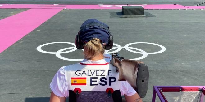 Fátima Gálvez tras finalizar una de las tiradas en los Juegos Olímpicos de Tokio 2020. Foto: Twitter RFEDTO.